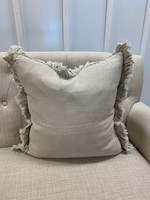 Saro Trading Company Ruffled Design Pillow - Natural