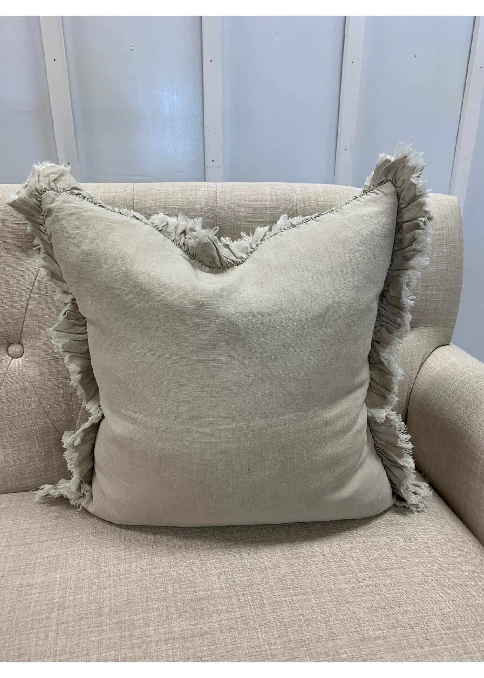 Saro Trading Company Ruffled Design Pillow - Natural