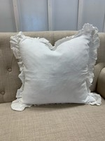Saro Trading Company Ruffled Design Pillow - Ivory