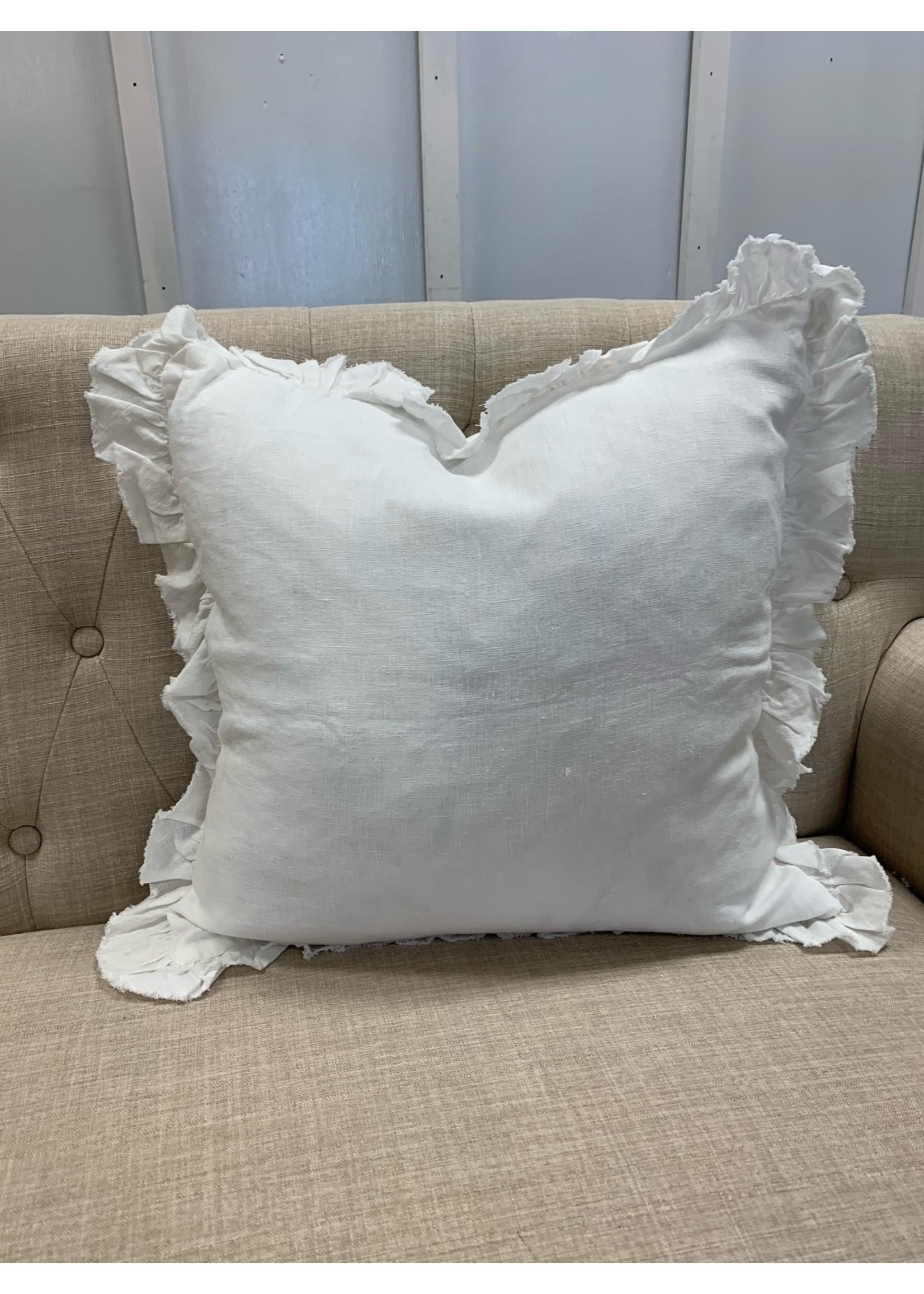 Saro Trading Company Ruffled Design Pillow - Ivory