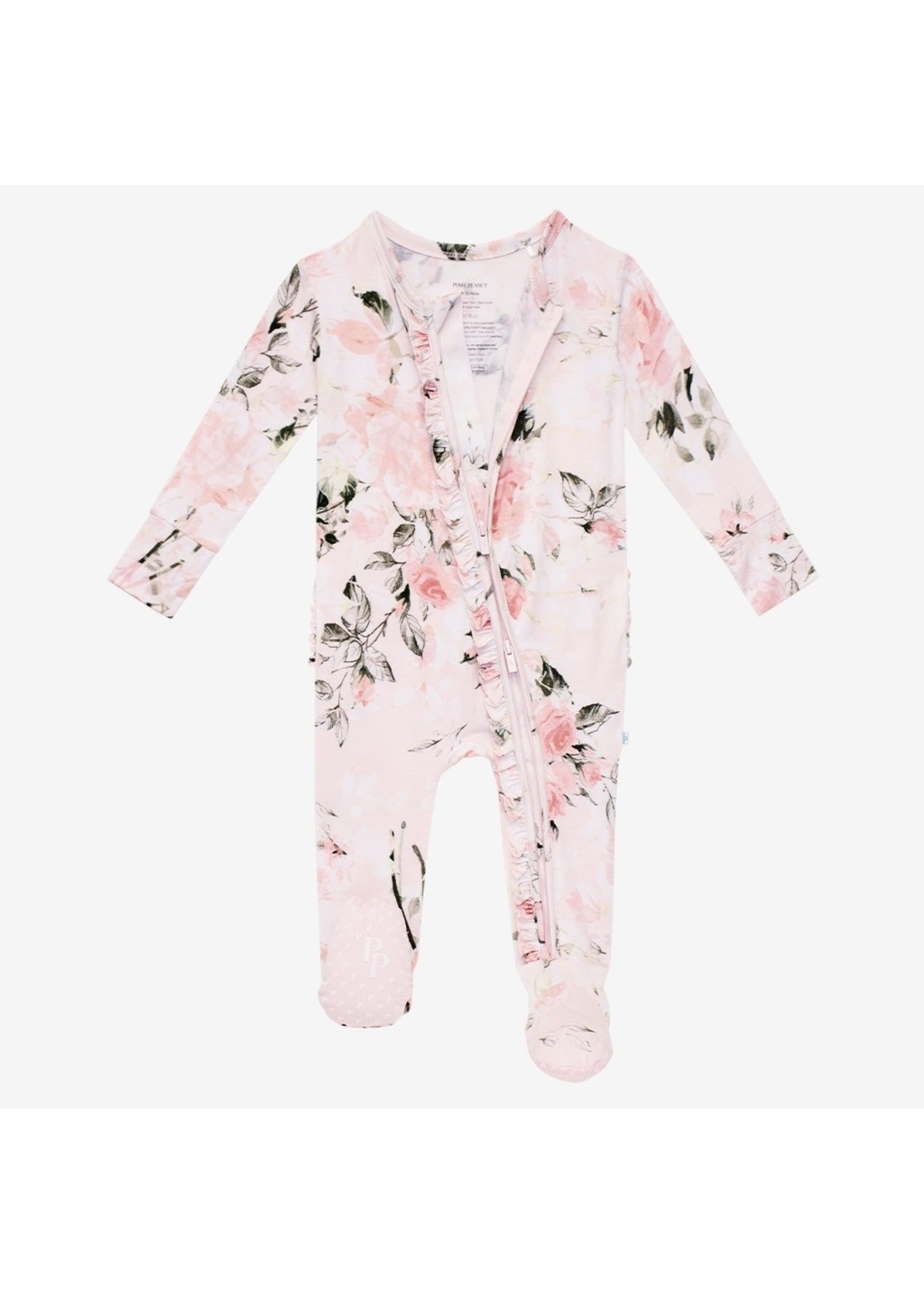 posh peanut Vintage Pink Rose - Footie Ruffled Zippered One Piece