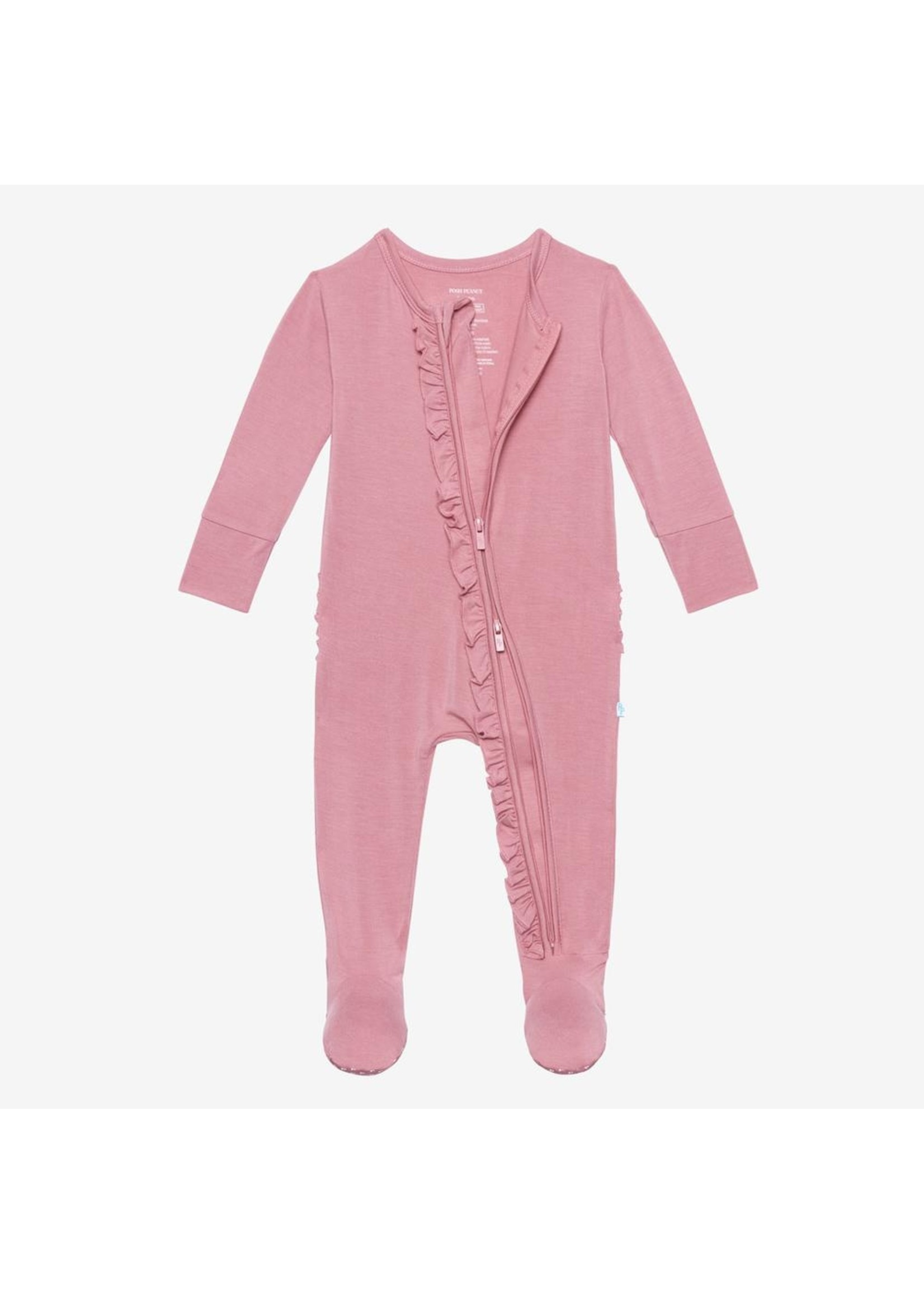 posh peanut Dusty Rose - Ruffled Footie Zippered One Piece