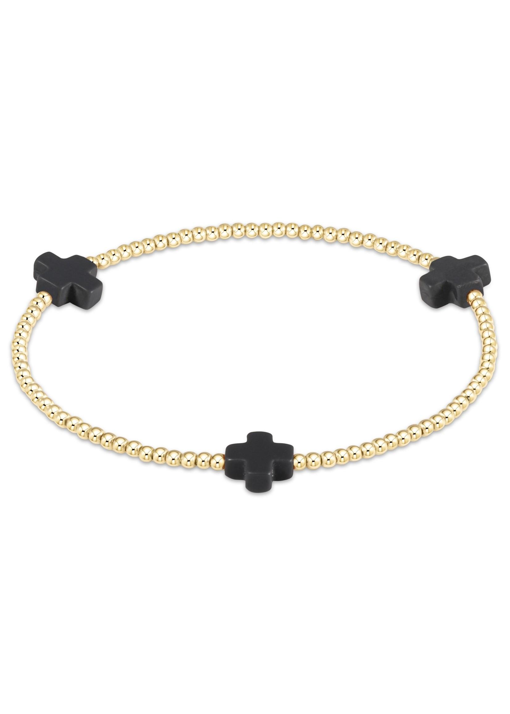 enewton Signature Cross Gold Pattern 3mm Bead Bracelet - Charcoal
