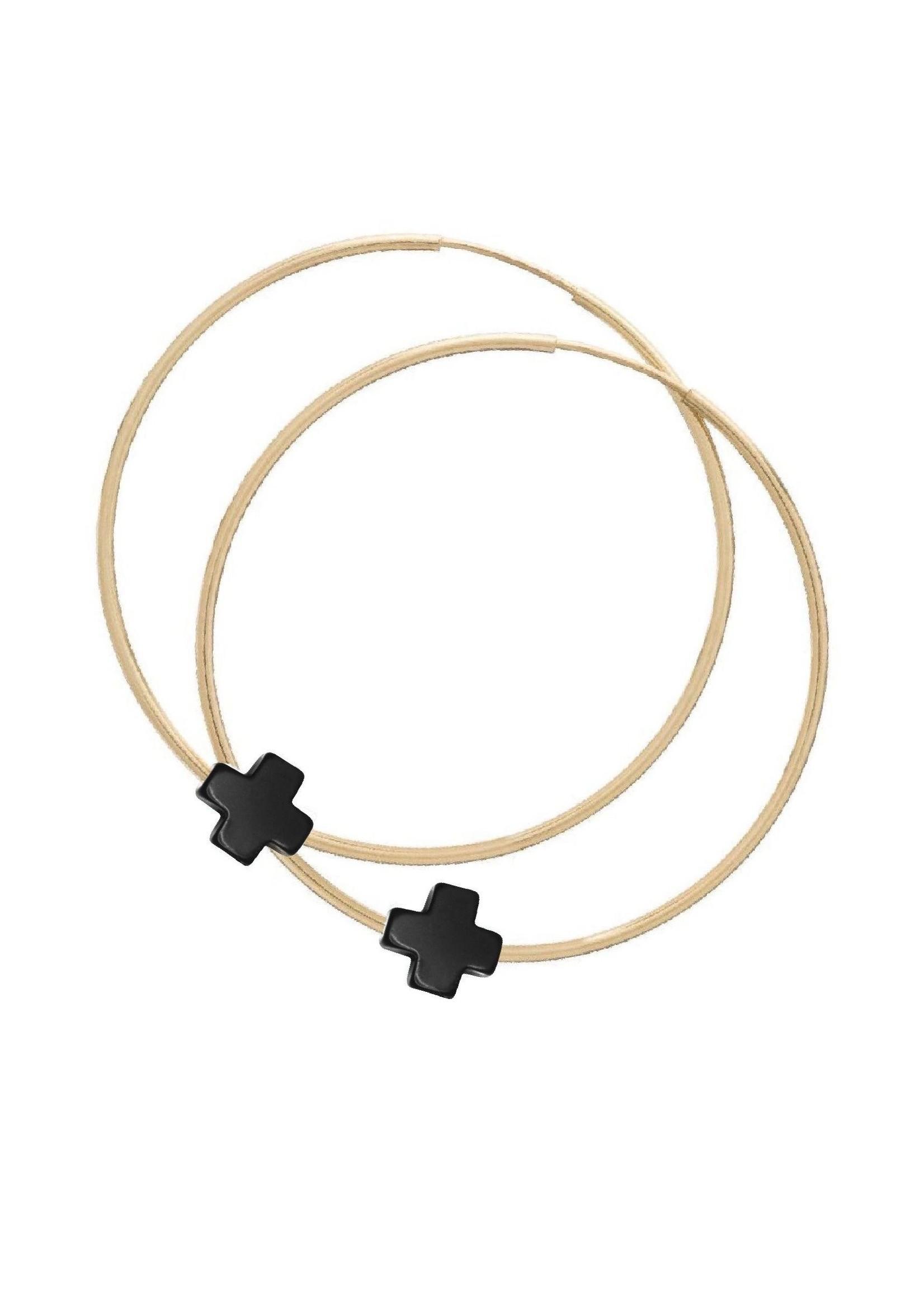 "enewton Endless Gold 1.75"" Hoop - Signature Cross - Charcoal"