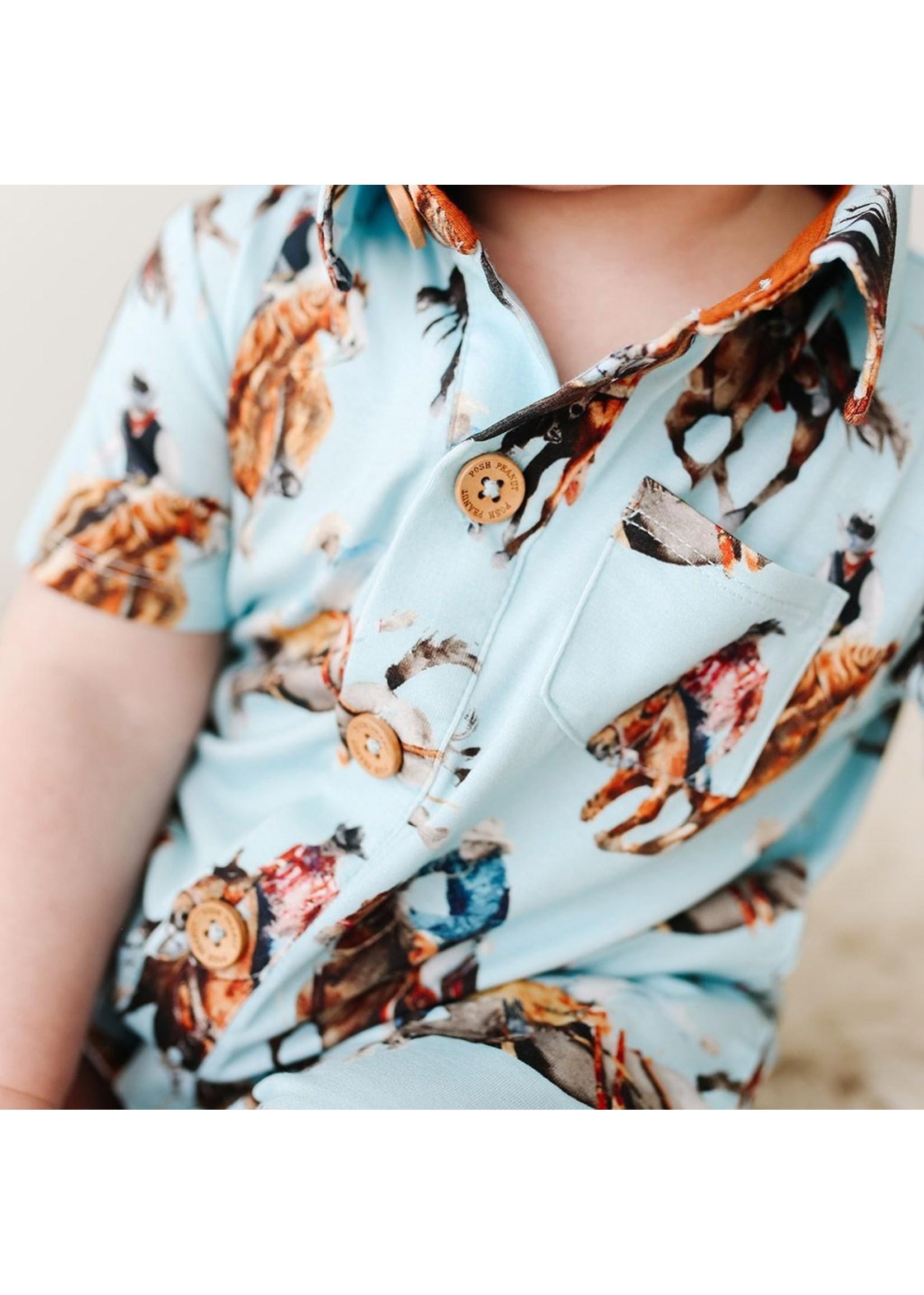 posh peanut Brody - Short Sleeve Collared Henley Romper