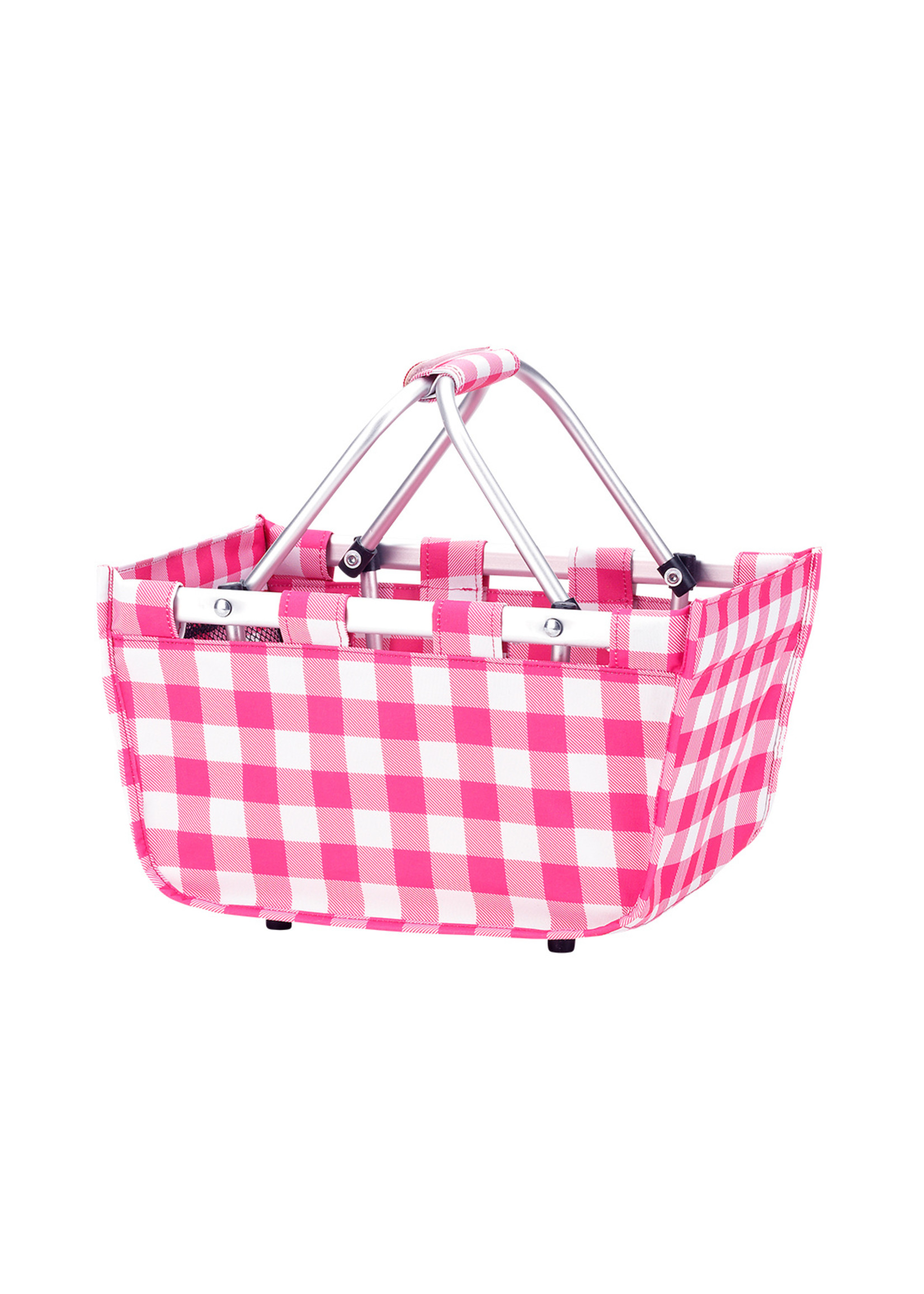 Wholesale Boutique Monogrammed Mini Check Market Tote Pink