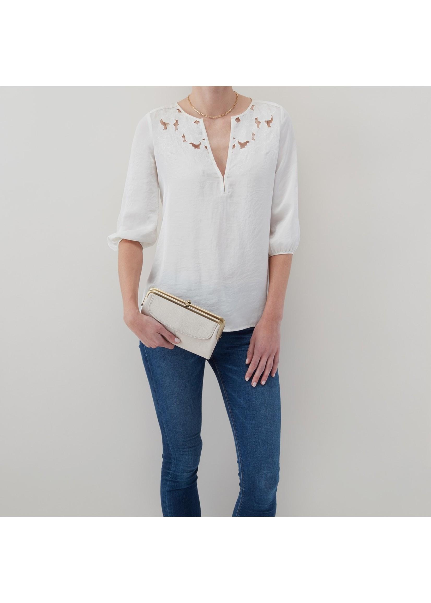 hobo Lauren Wallet Clutch Velvet Hide - Powder White