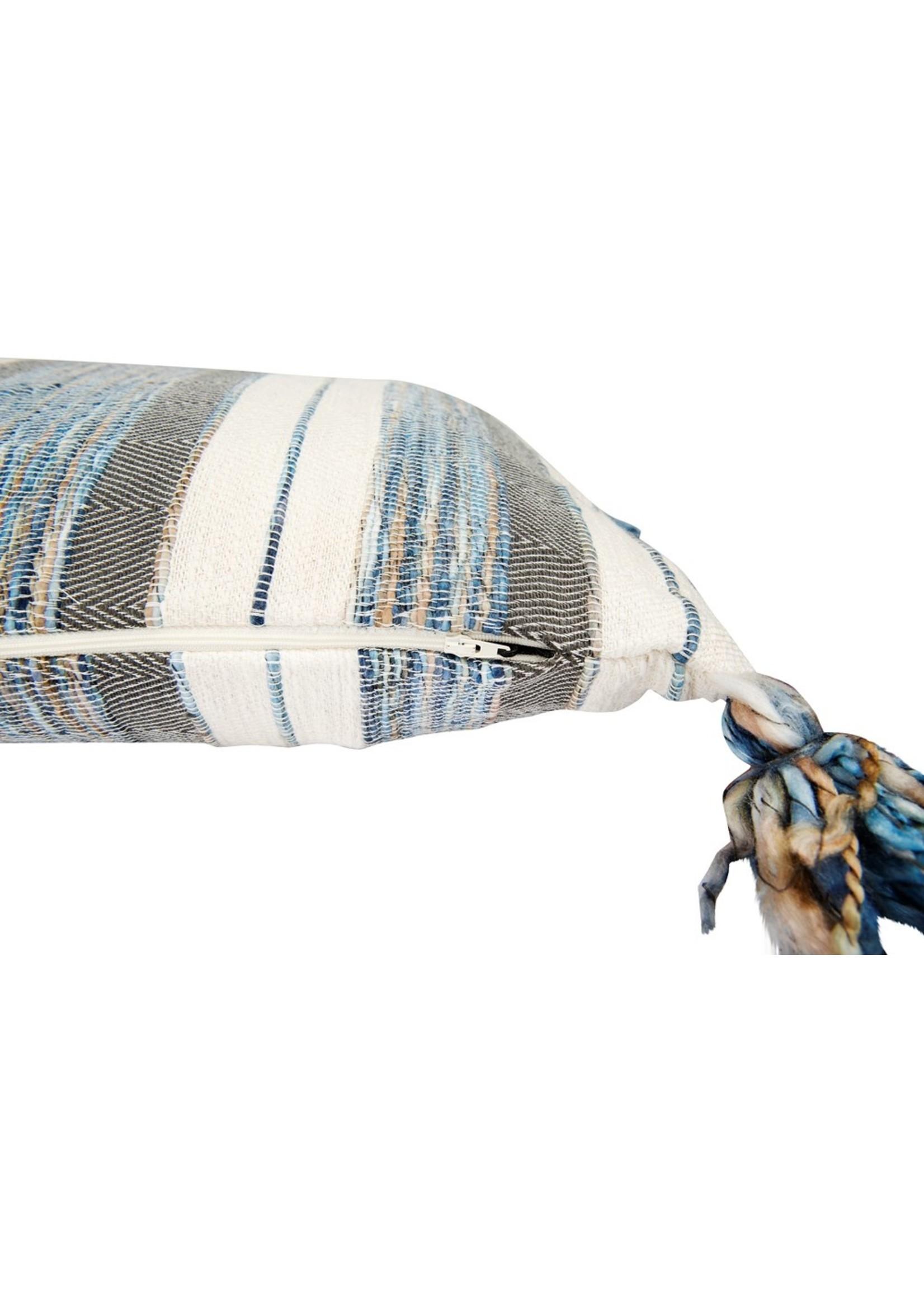 Creative Co-op Blue, Gray & Cream Lumbar Pillow