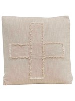 Creative Co-op Cream Slub Cross Pillow
