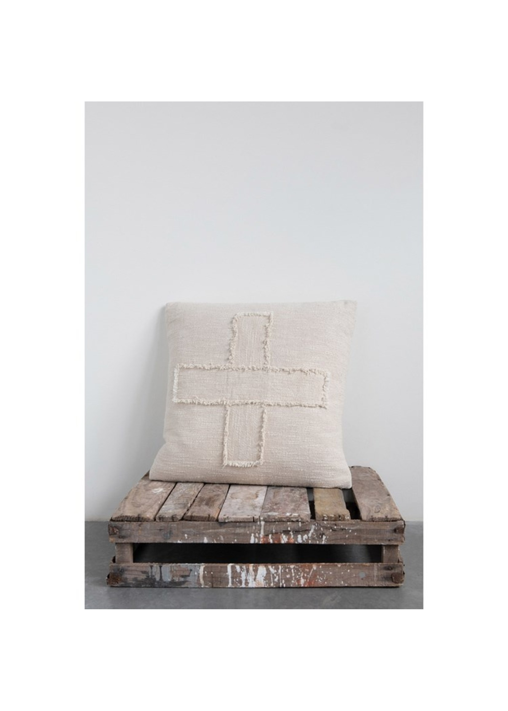 Creative Co-op Cream Slub Cross Pillow