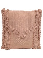Creative Co-op Pink Putty Embroidered Pillow