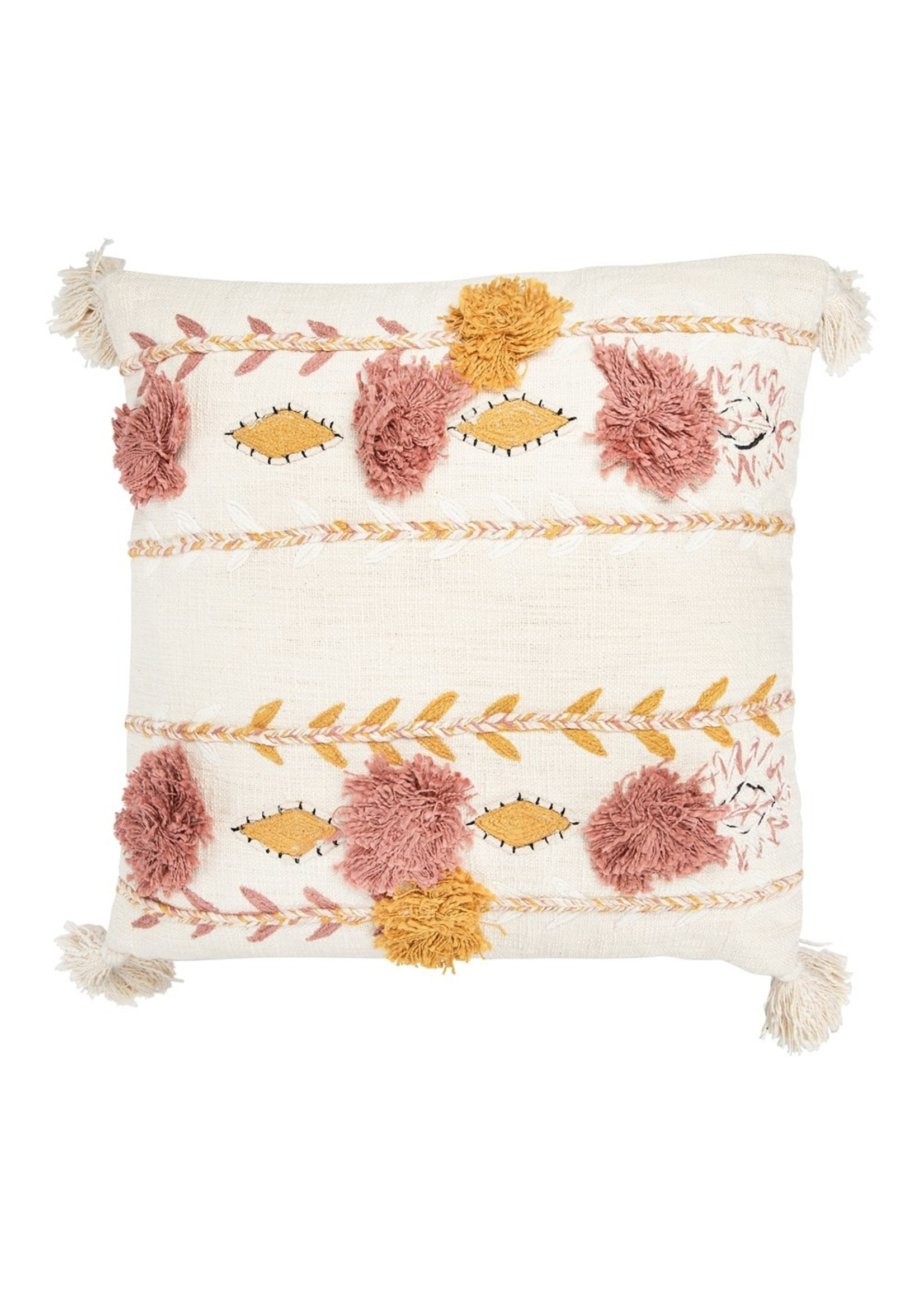 Creative Co-op Pink & Cream Embroidered Tassel Pillow