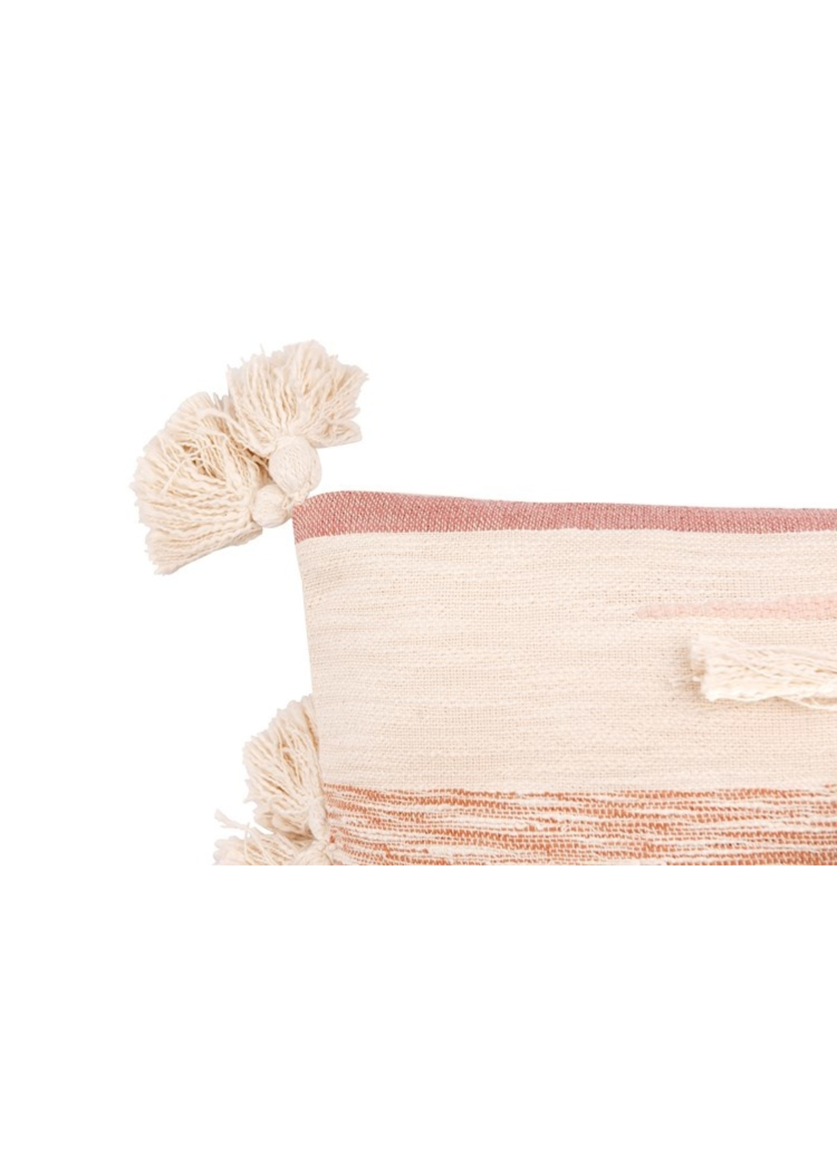 Creative Co-op Pink Tassel & Fringe Kilim Pillow
