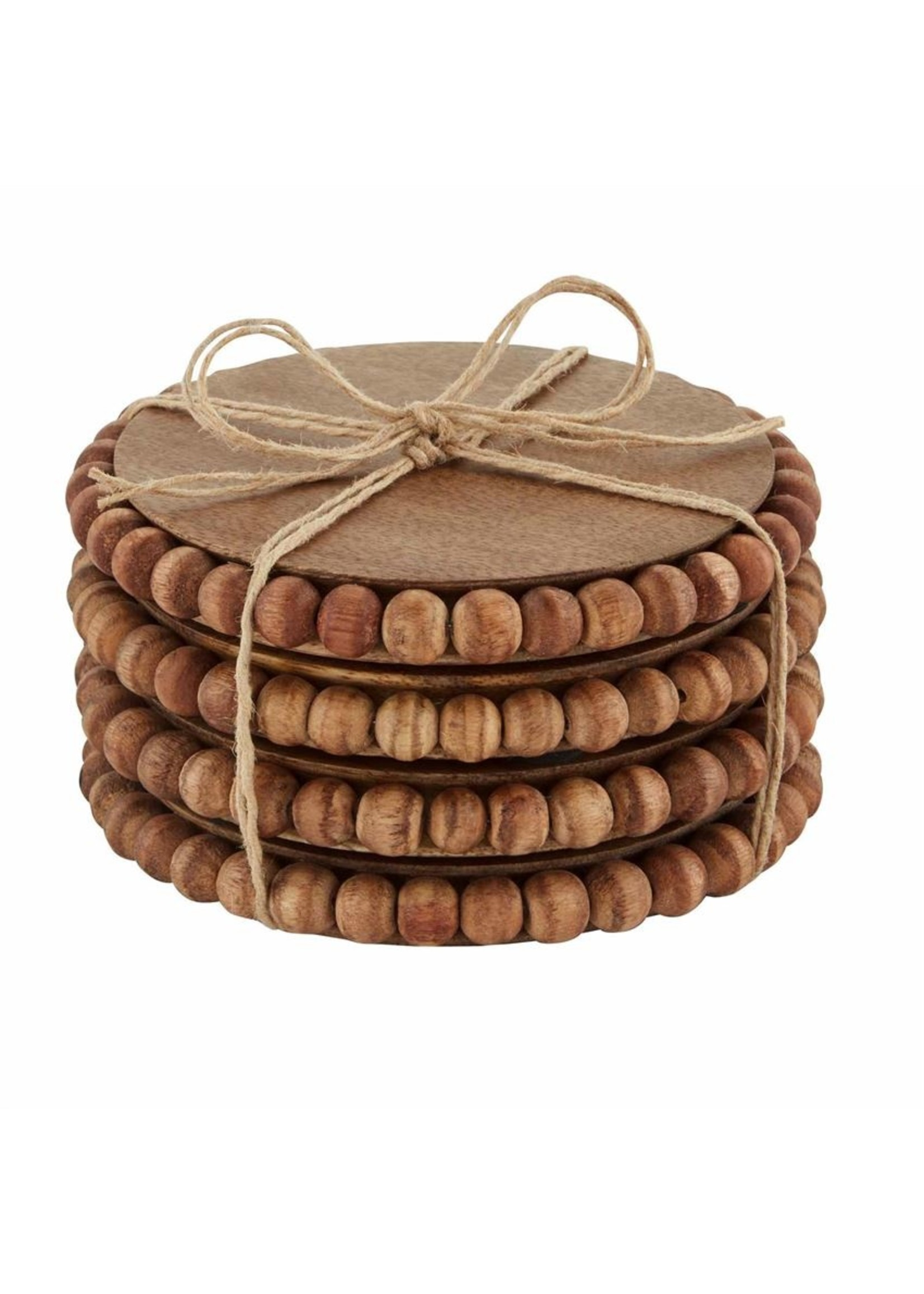 Mudpie Beaded Wood Coasters Natural