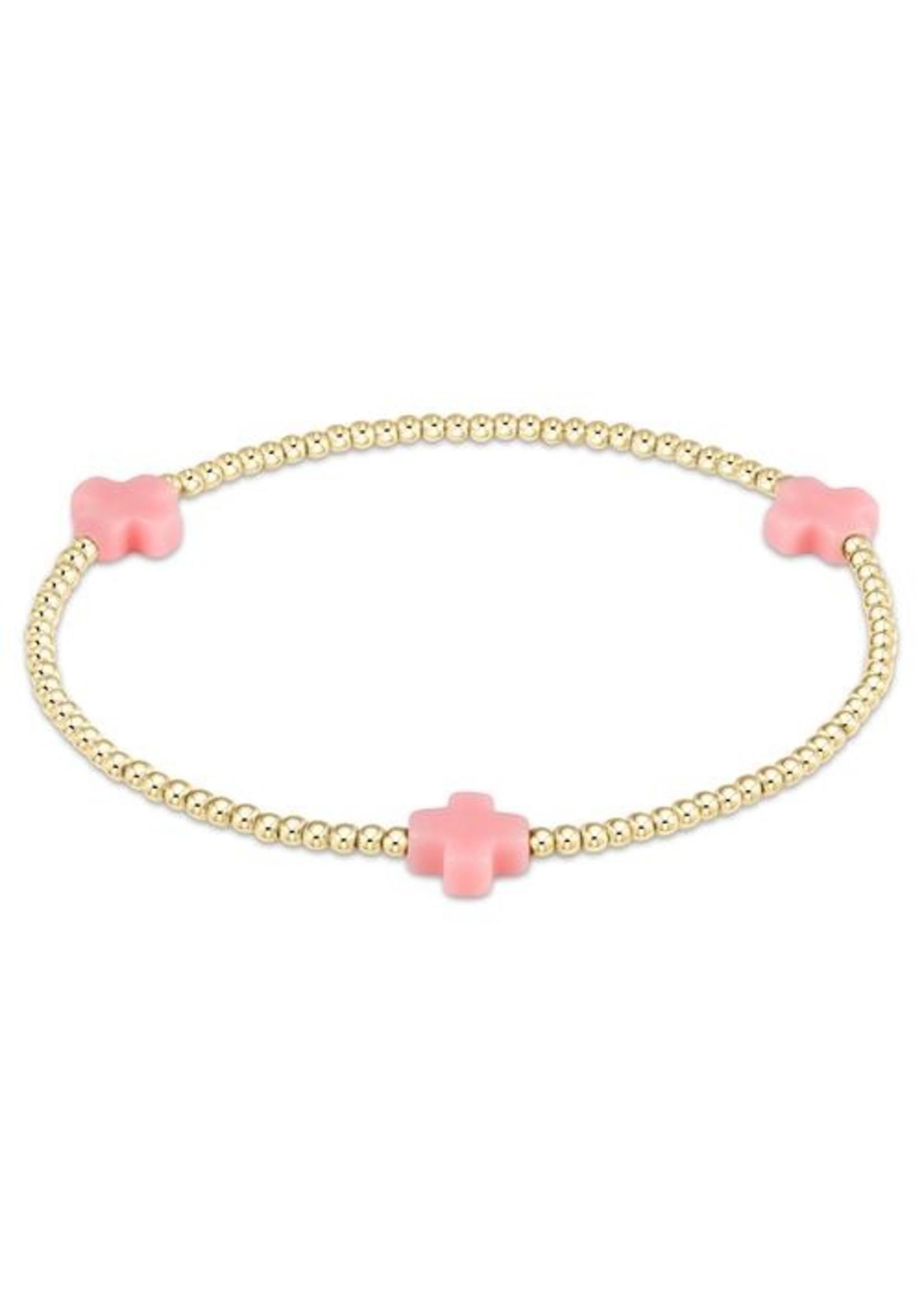 enewton Signature Cross Gold Pattern 3mm Bead Bracelet - Pink