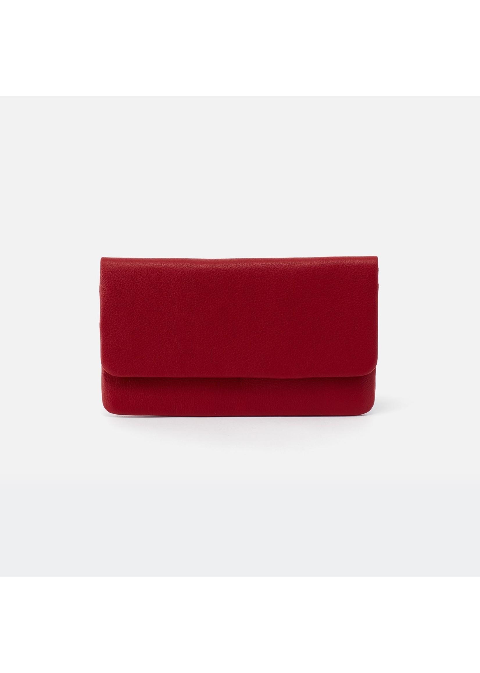 hobo Paca Continental Wallet Velvet Hide - Scarlet