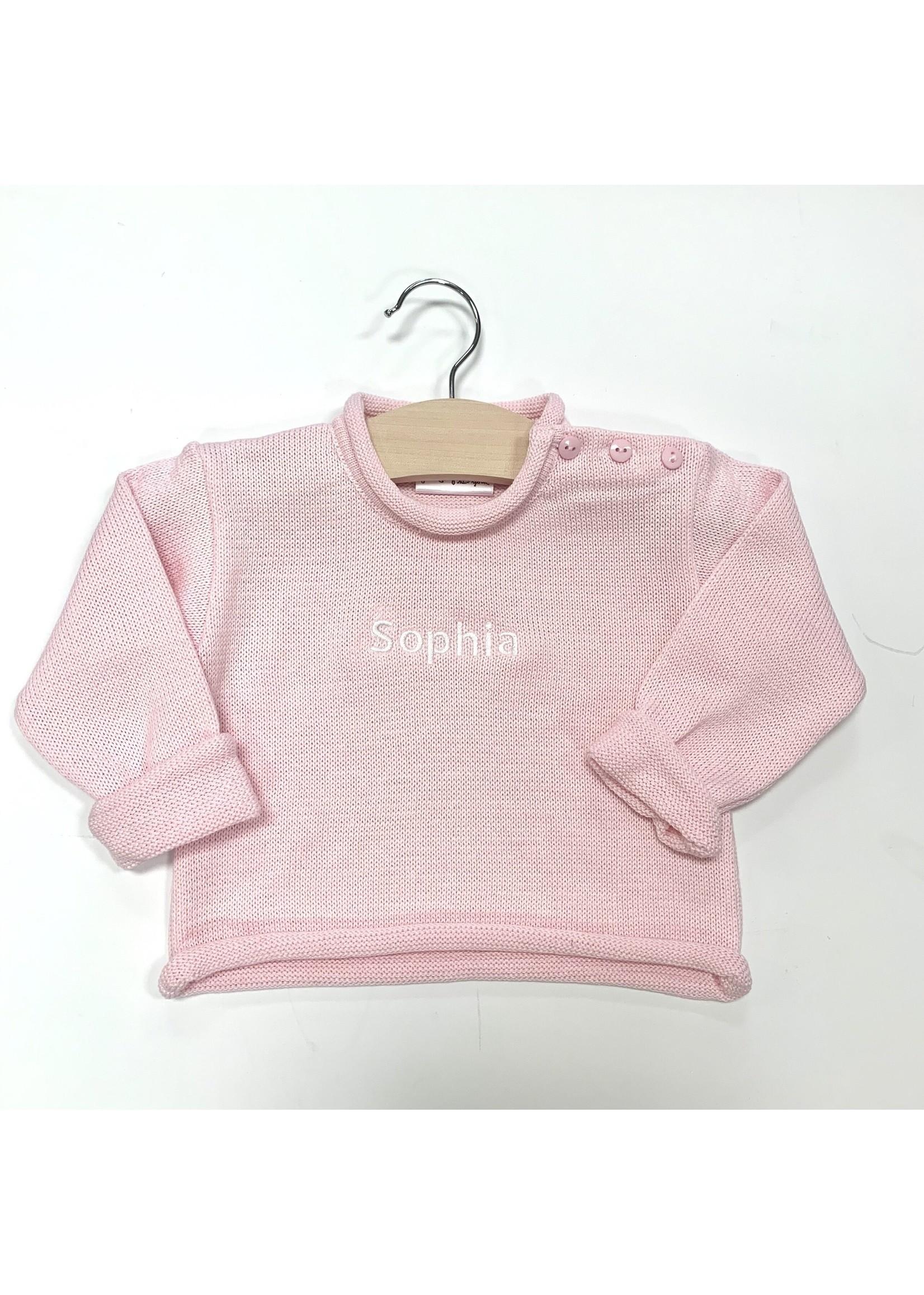 fingerprints Pink Monogrammed Roll Neck Sweater