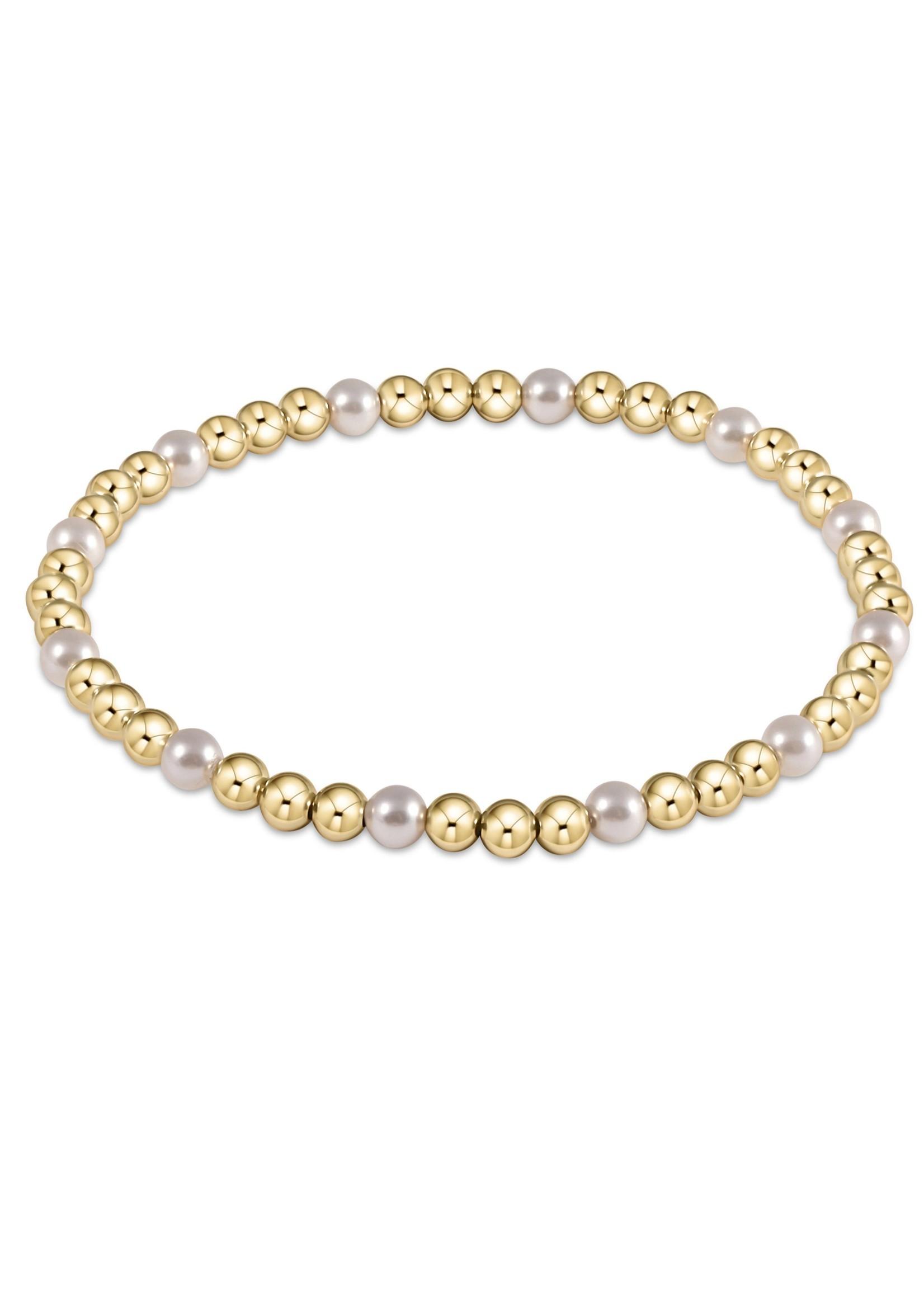 enewton Gold Sincerity Pattern 4mm Bead Bracelet - Pearl