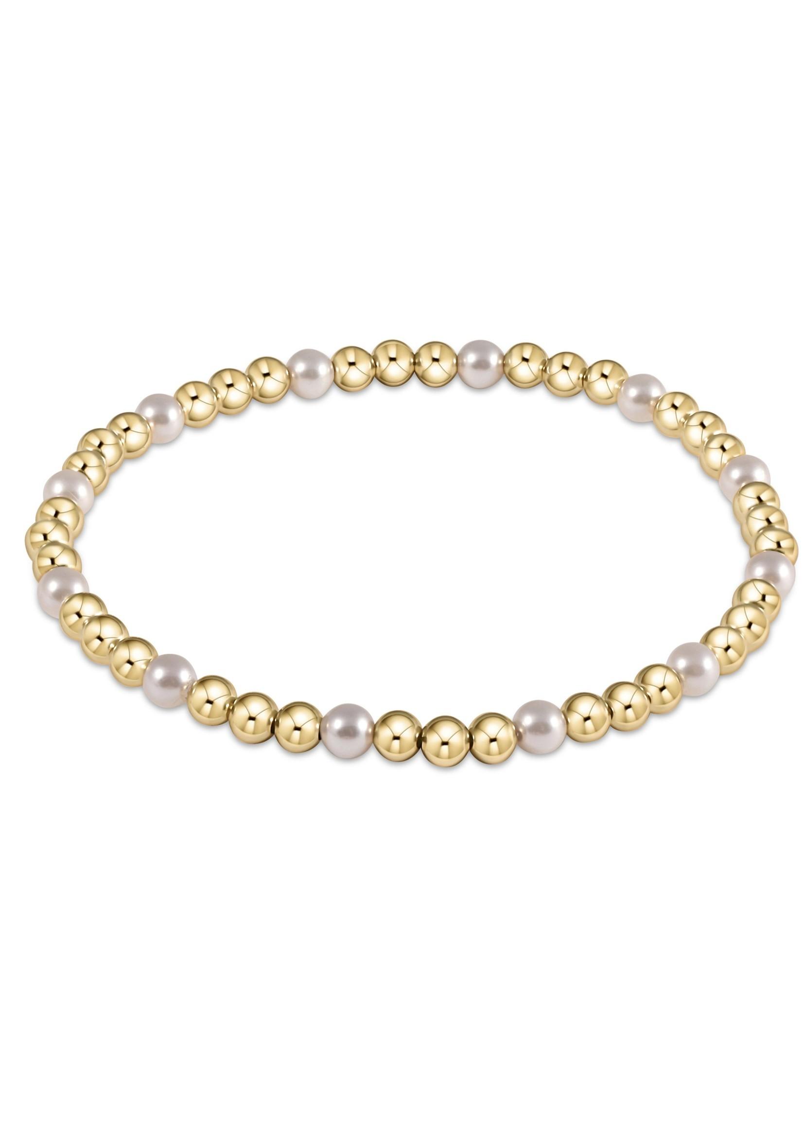 enewton Gold Sincerity Pattern 3mm Bead Bracelet - Pearl