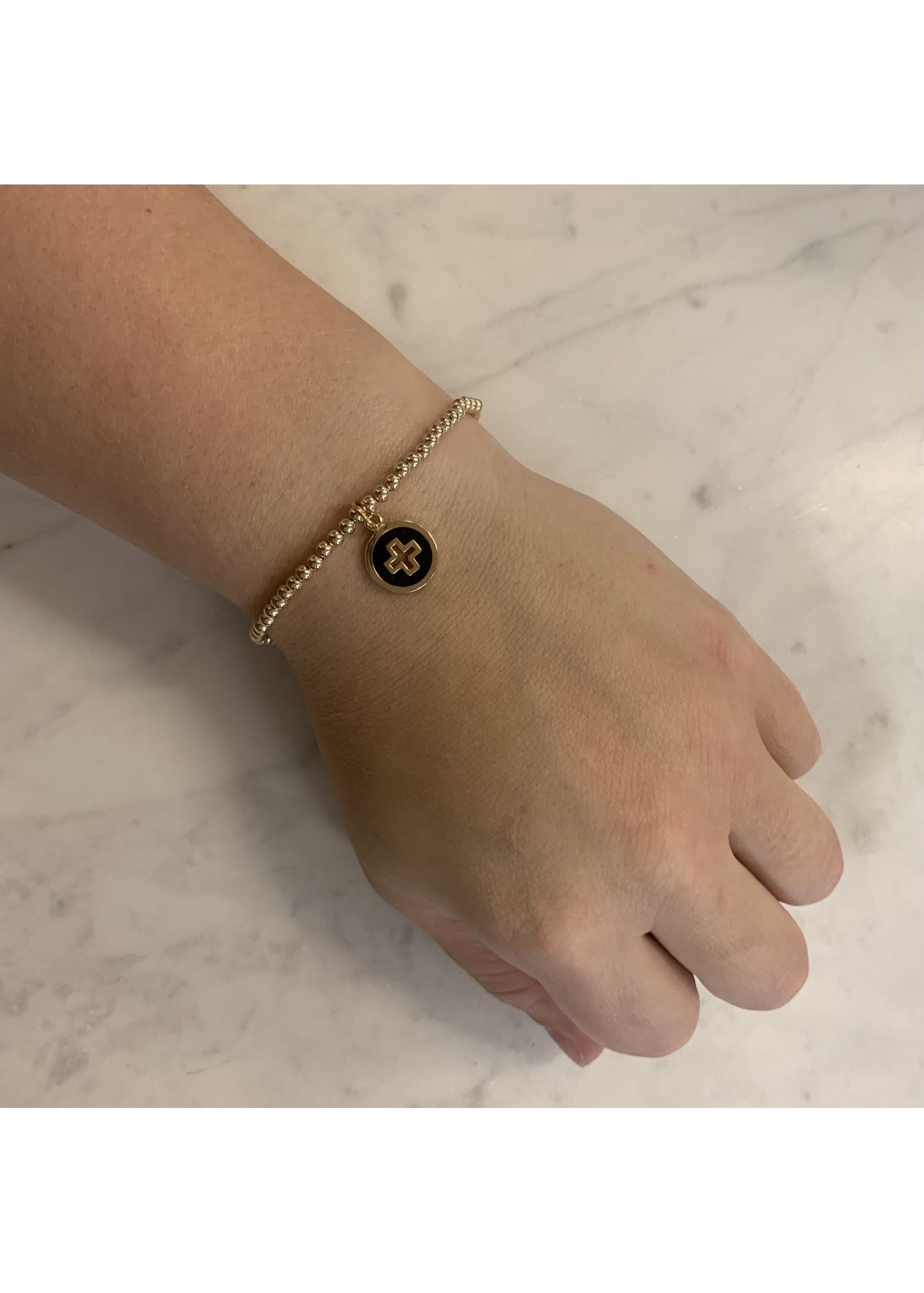 enewton Classic Gold 3mm Bead Bracelet - Signature Cross Gold Disc - Onyx