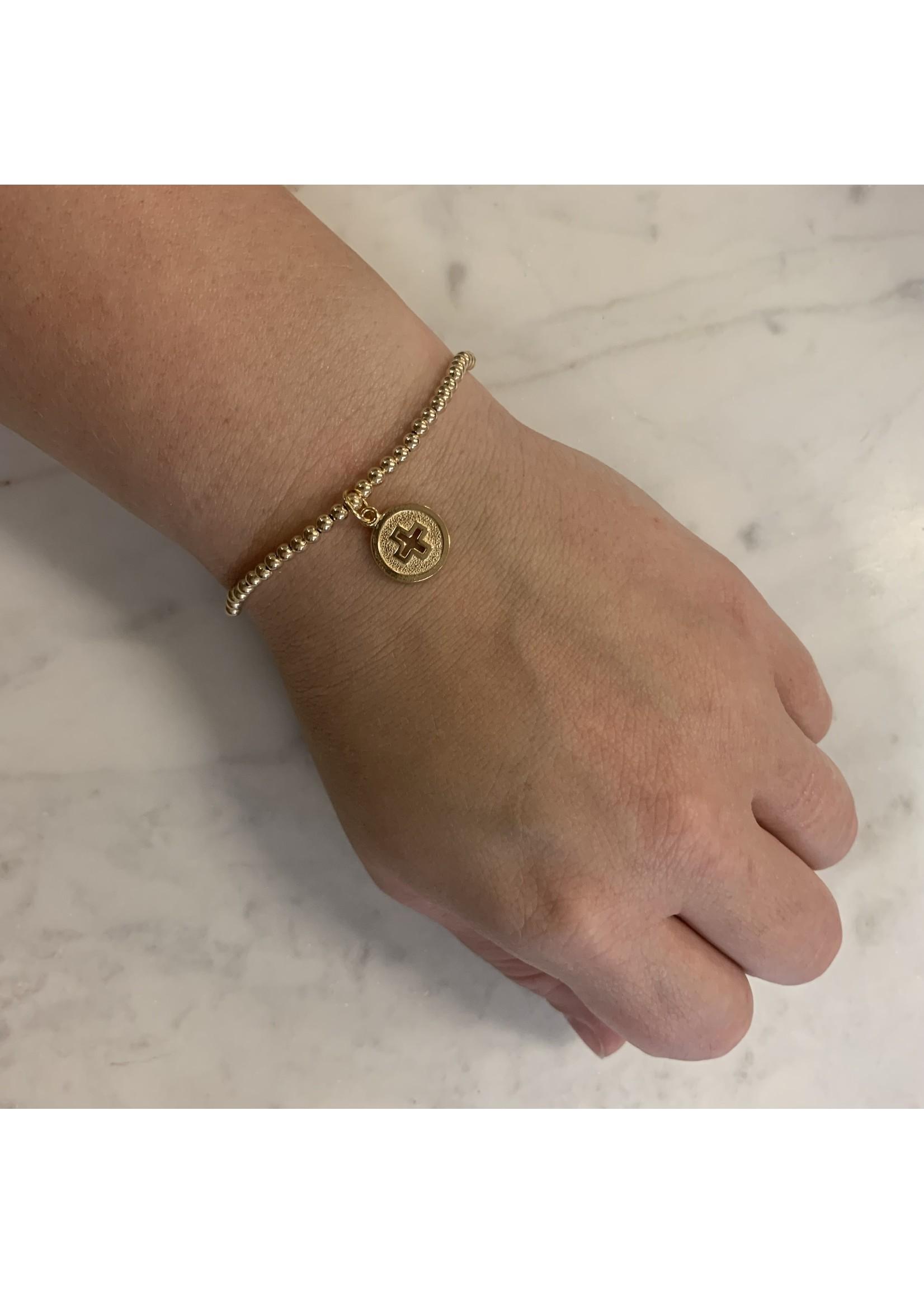 enewton Classic Gold 3mm Bead Bracelet - Signature Cross Gold Disc