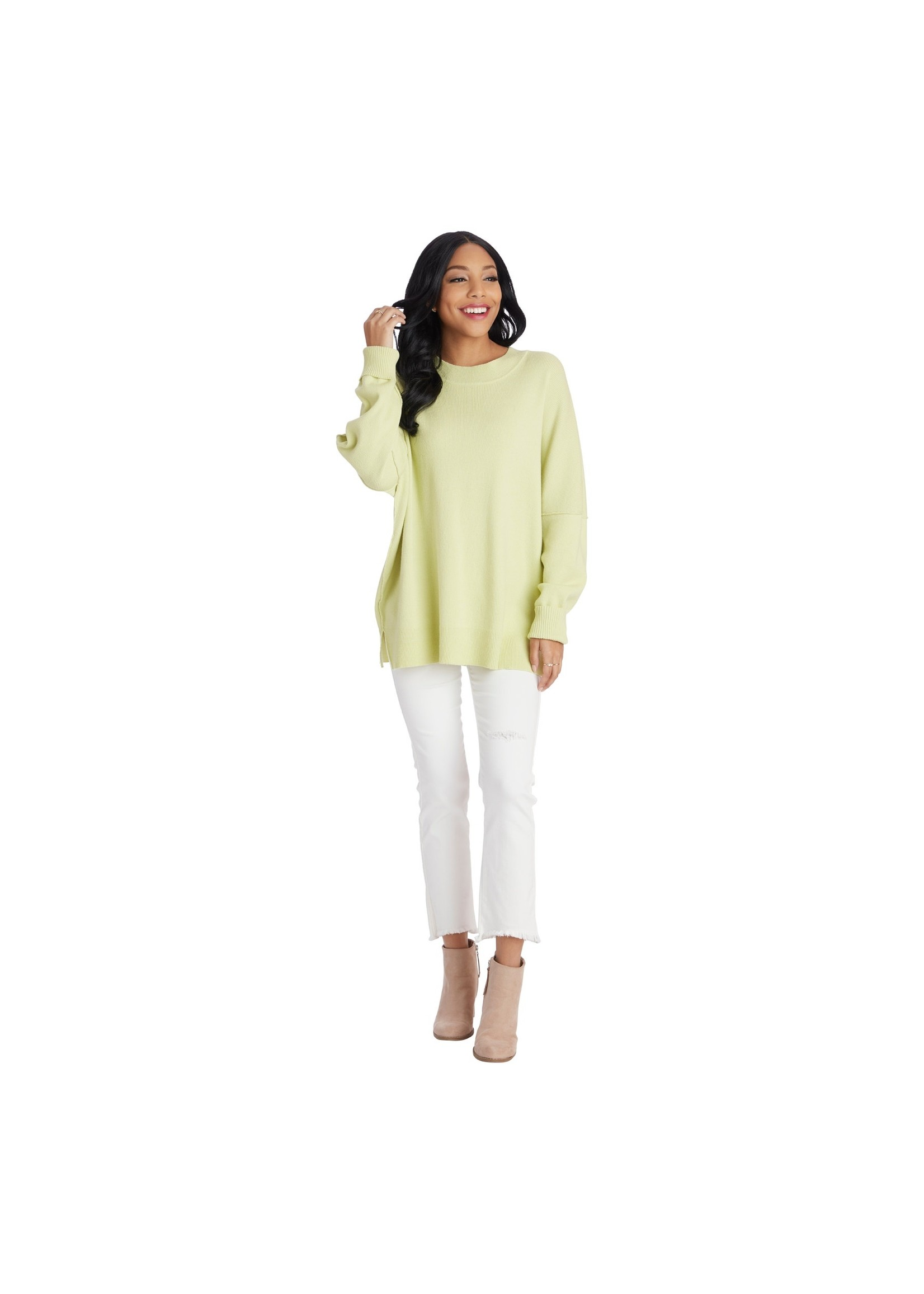 Mudpie Astrid Ribbed Sweater Lime