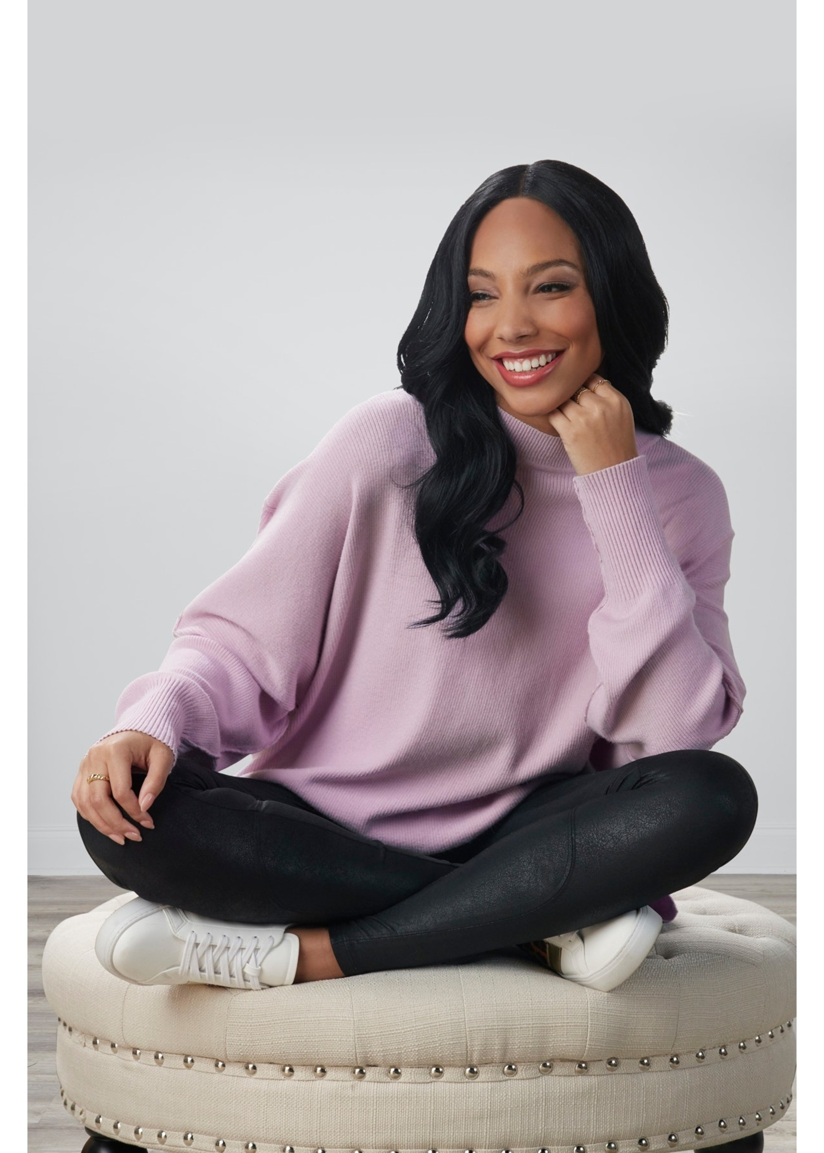 Mudpie Astrid Ribbed Sweater Lilac