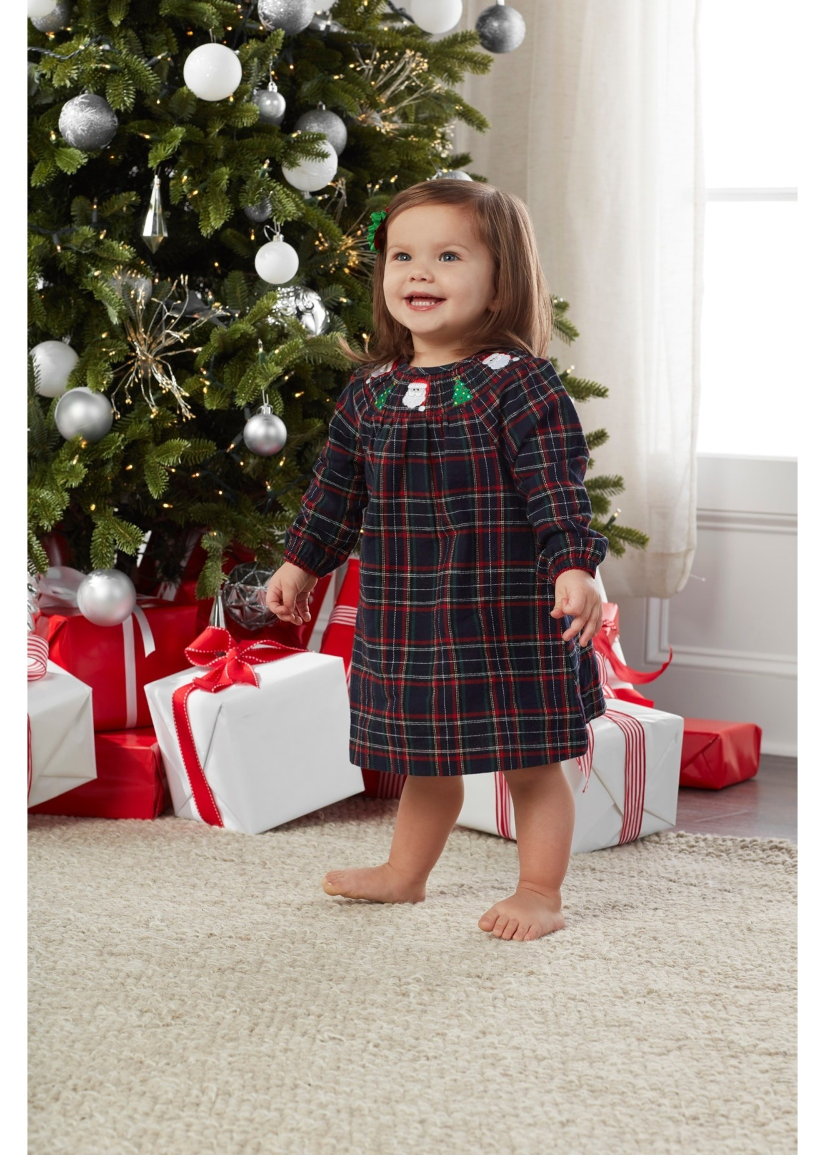 Mudpie Smocked Plaid Christmas Dress