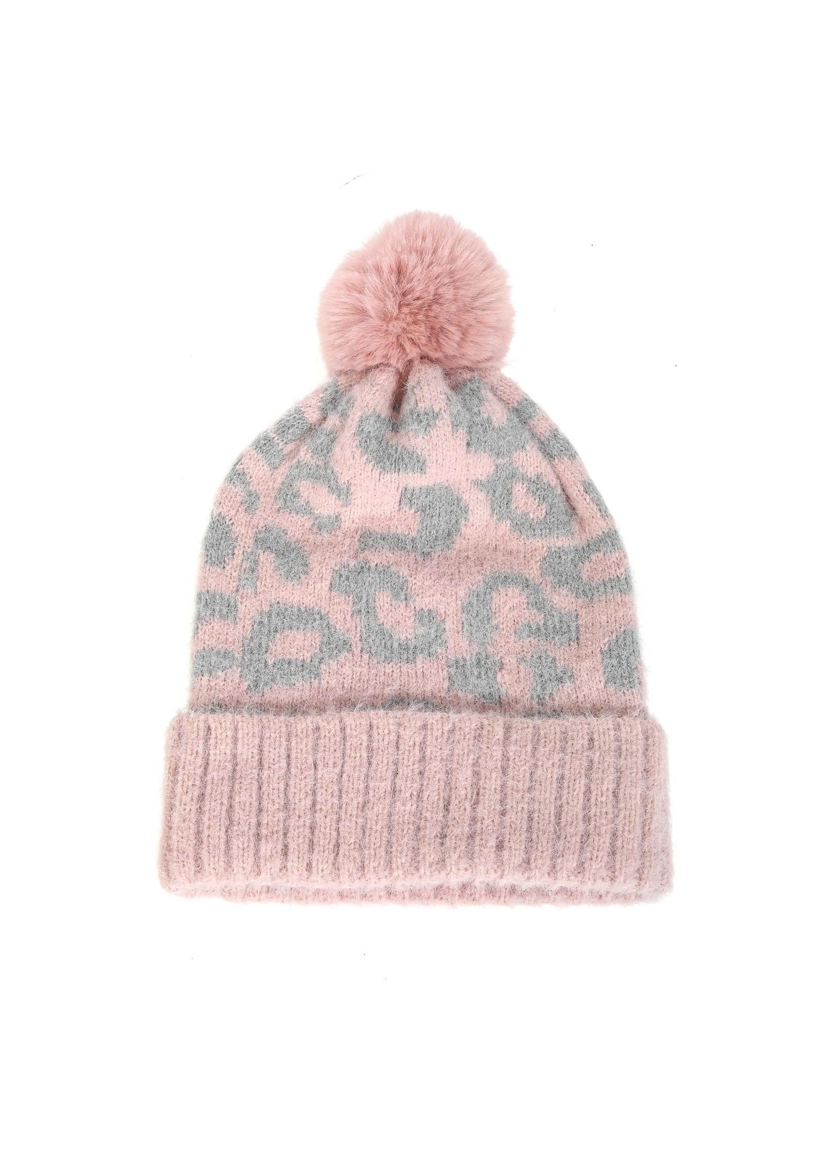 faire Leopard Print Pom Beanie Pink