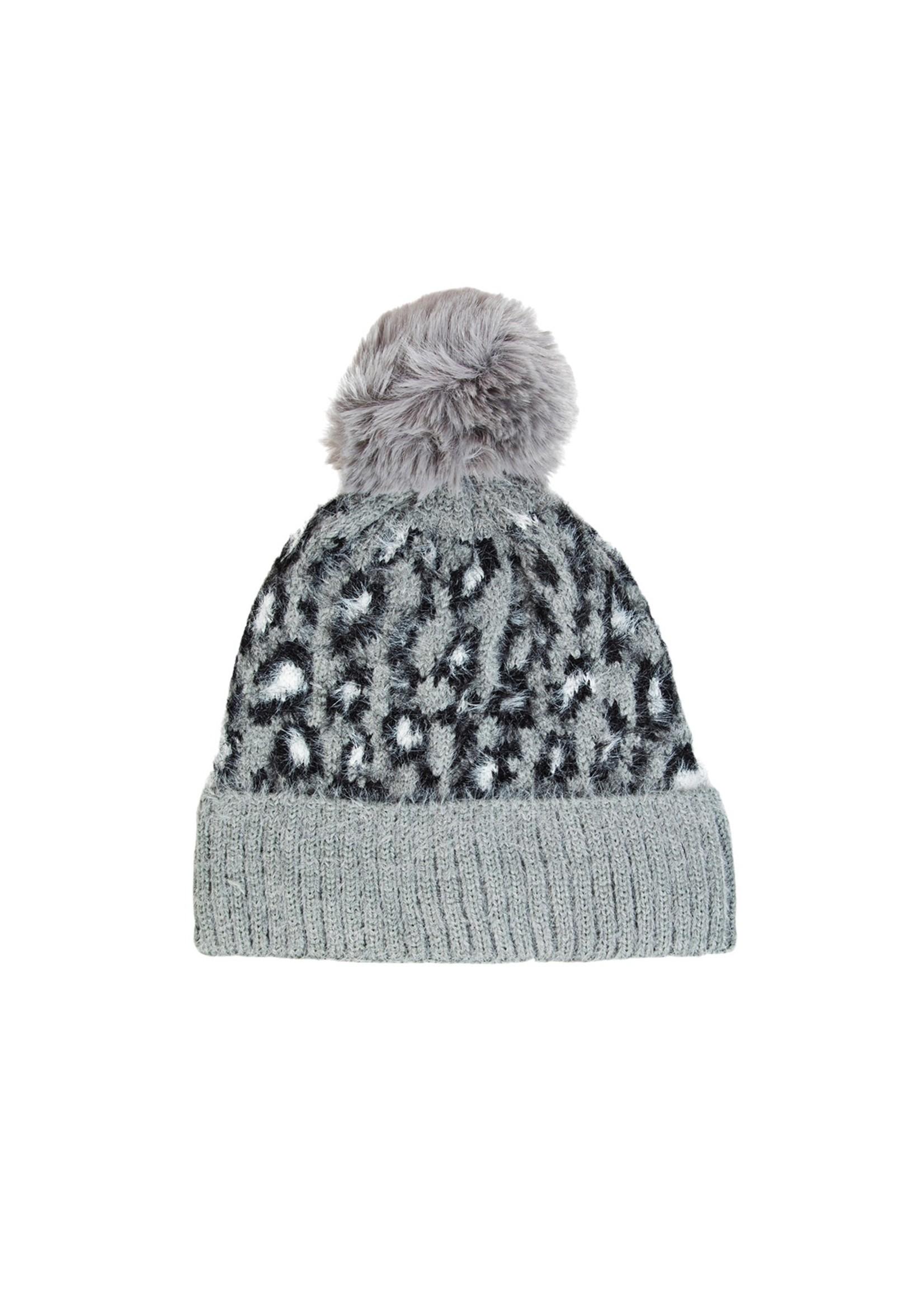 faire Leopard Print Pom Beanie Grey