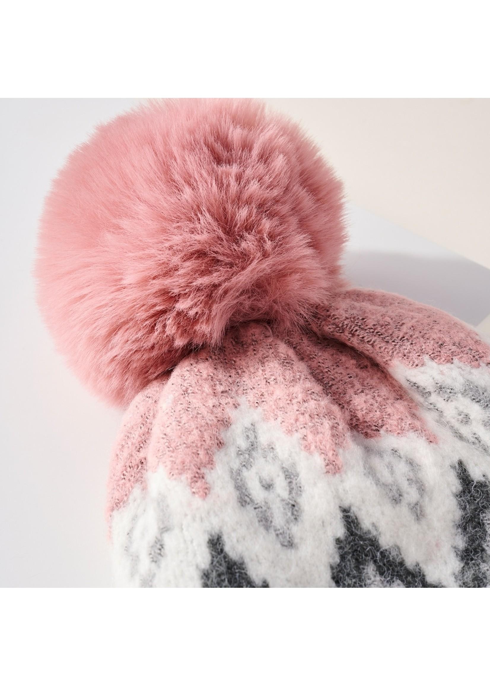 Avenue Zoe Fuzzy Line Pom Pom Beanie - Pink