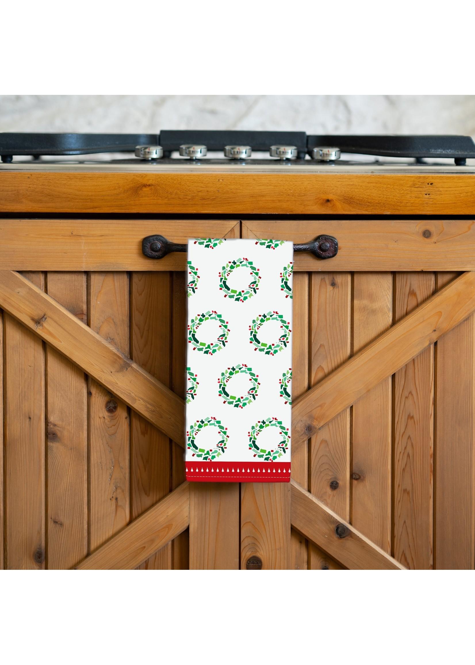 Honey and Hank 50 States Christmas Wreath Tea Towel