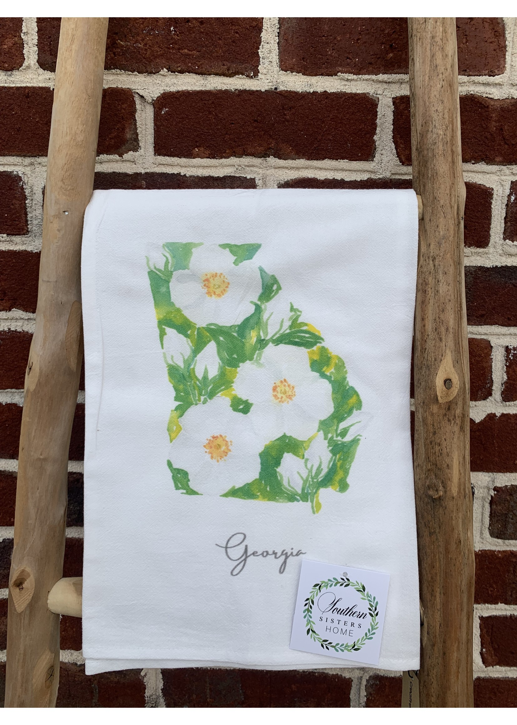 southern sisters Linen Towel - State Flower of GA