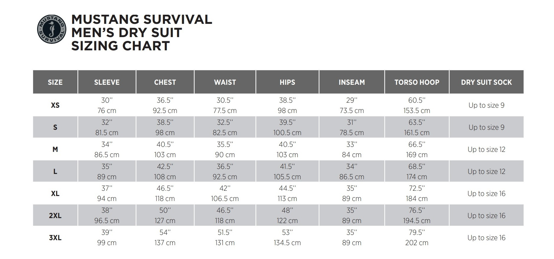 Mustang Drysuit Size Guide
