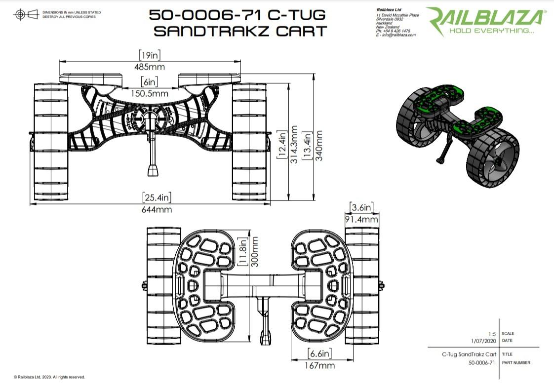 C-Tug Sandtrakz Cart Dimensions