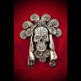 Dia de los Muertos Wall Plaque in Silver Finish