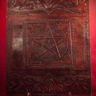 Hex Large Pentacle in Square Journal in Brown