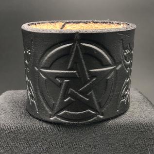 NyghtCraft Leatherworks 2 1/4 In. Center Pentagram & Skull/Bones in Webs Single Closure Leather Cuff
