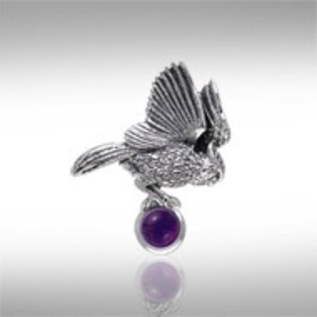 Pendant - Flying Owl w/Stone in Claws