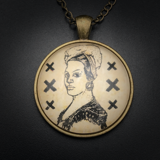 Marie Laveau Talisman in Antique Brass with Glass Cabochon