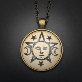 Lunar Magic Talisman in Antique Brass with Glass Cabochon