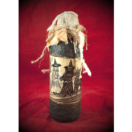 The Witch's Familiar Woodcut Spell Bottle