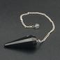 Hex Black Tourmaline 12 Faceted Pendulum