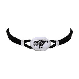 Silver Raven Choker with Leather and Silver Cord