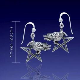 Raven on Silver Pentacle Earrings