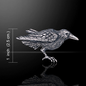 Hex Silver Raven Pin