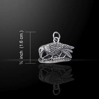Hex Small Silver Raven Pendant