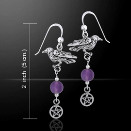 Raven and Gem Silver Earrings with Amethyst