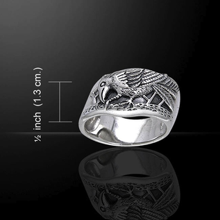 Hex Silver Raven Ring - Size 11