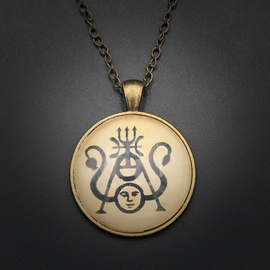 Dream Talisman in Antique Brass with Glass Cabochon